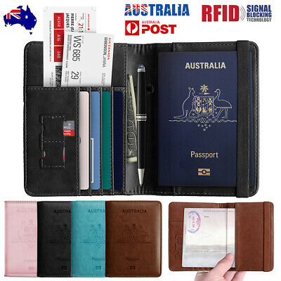 Slim Travel Passport Card Wallet Holder Cover RFID Blocking Leather Purse Case
