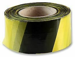 YELLOW / BLACK 72MM x 500m HAZARD WARNING BARRIER TAPE ROLL NON ADHESIVE