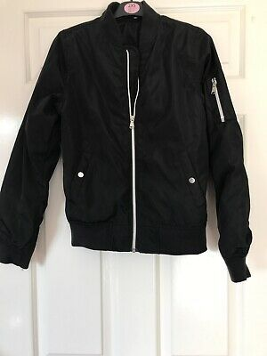 Fantastic Girls Black Bomber Jacket From Miss E-Vie Age 11-12 Years