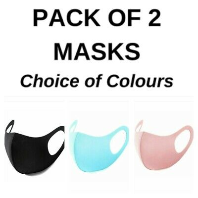 Pack of 2 Face Mask Pink/Blue/Black Covering Washable and Reusable Fast Delivery