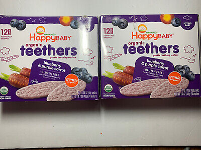 Happy Family Teething Wafers - Blueberry & Purple Carrot - 1.7 oz
