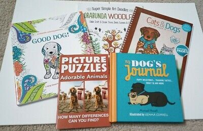 Lot New Dog Cat Animal Theme Adult Coloring Puzzle Books and Dog's Journal