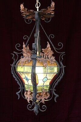 Ex-Large Antique French Chateau Wrought Iron Lantern Stained Glass Chandelier