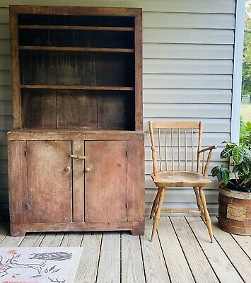 Early Primitive 19th C. VA Stepback Cupboard Old Surface!