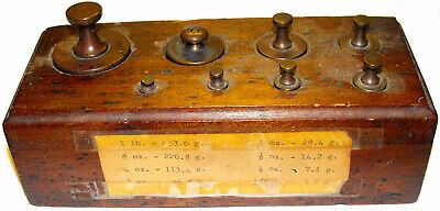 1800s Vintage 8 Piece Antique Weight Set in Wood Block - 1/8 Ounce - 1 Pound