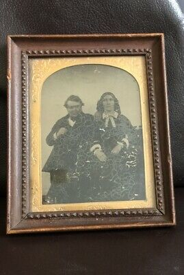 Fantastic Antique Victorian Ambrotype Picture Lady Gentleman Framed Early Photo