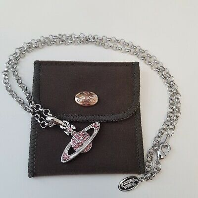 Vivienne Westwood Slivery and Crystal Pendant Necklace Pink