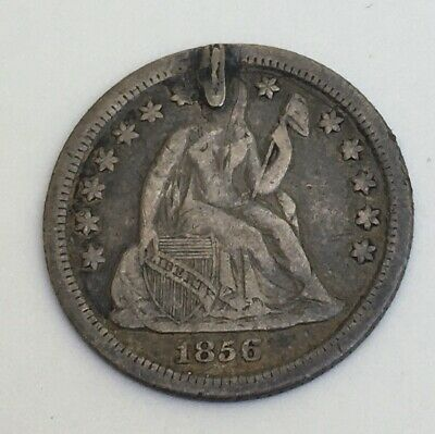 1856 US Seated Liberty Silver Dime, Love Token/Coin,L.B. Engraved.