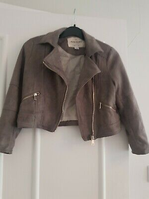 Girls Grey River Island Biker Jacket Age 5yrs
