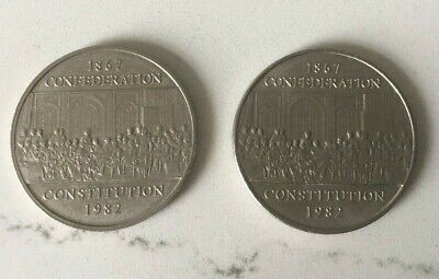 Lot of 2 - Canada 1982 $1 Dollar - 1867 Confederation Constitution Coin