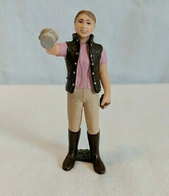 Schleich Horse Stable Hand Groomer Brown Hair Girl Toy Figure 43137 Pink Shirt