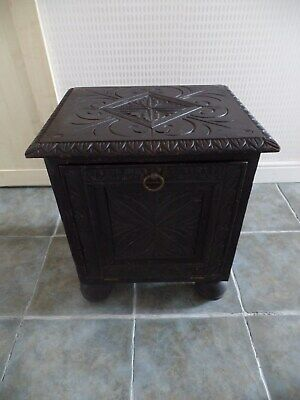 Heavily Carved Wooden Coal Box With Liner
