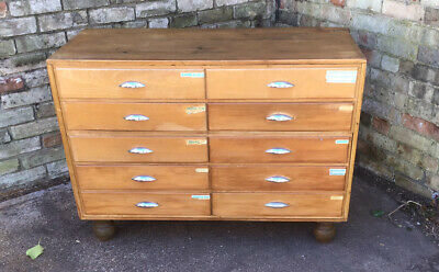Lovely Antique Set Of Versatile Vintage Shop Haberdashery Drawers Chest Counter