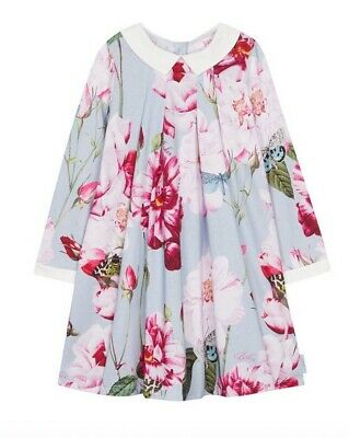 Baker by Ted Baker - Girls' Blue Floral Print Pleated Jersey Dress 5-6 BNWT