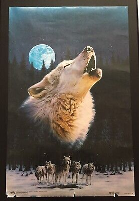 """Vintage 1993 American Arts & Graphics """"Wolf Call"""" Poster Wolves"""