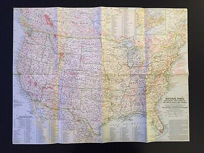 Vintage 1958 National Geographic Society National Parks Monuments & Shrines Map