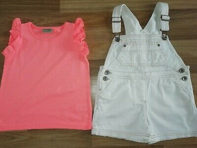**Girls Next White Short Dungarees And Vest Top Aged 3-4 Years**