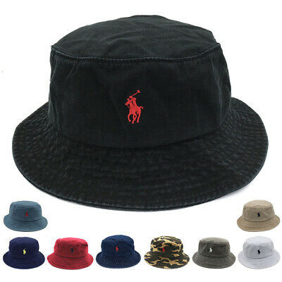 Men Women Classic Bucket Hat Polo Casual  Fishman Cap Cotton Embroidery S Pony