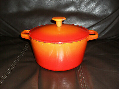 Cast Iron Orange Colour Cooking Pot 8 x inch wide - 4 & 1/4 inch deep - Epsom SY