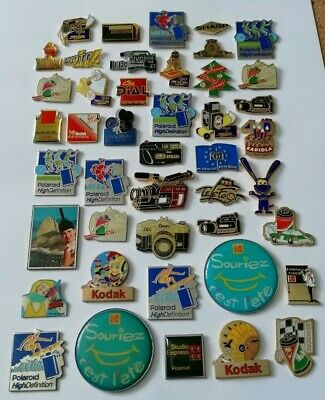Large Collection of 44 Photography Cameras Pin Badges Lot, Kodak Polaroid JVC