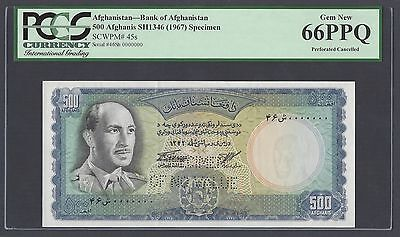 Afghanistan 500 Afghanis Sh1346 -1967 P45s Specimen Perforated Uncirculated