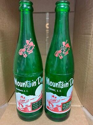 "VINTAGE HILLBILLY MOUNTAIN DEW 12oz SODA BOTTLE ""FLORENCE, SC"" 2 VARIATIONS LOOK"