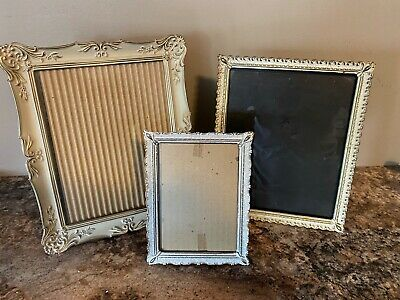3 Vintage.Mid-Century Fancy Whitewashed Gold Metal Picture Frames