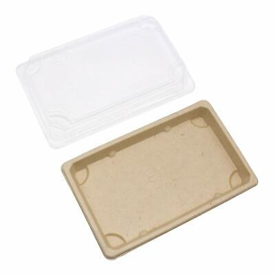 """8 * 5"""" Wheat Straw Togo Sushi Container Disposable Sushi Tray with Lid for Cake"""