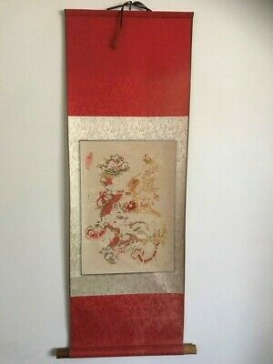 Original Vintage Chinese Oriental High Quality Paper Cutting Scroll Painting
