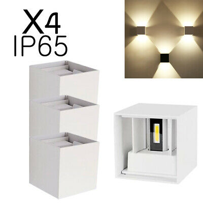 4X LED Wall Light Up/Down Sconce 12W Cube Outdoor Cool/Warm White Lamp