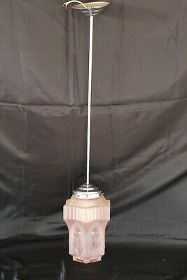 French Art Deco Pink Glass Skyscraper Chrome Fittings Pendant Light Working VGC