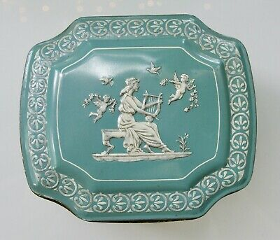 Made In England Decorative Tin Box Teal Blue And White Used