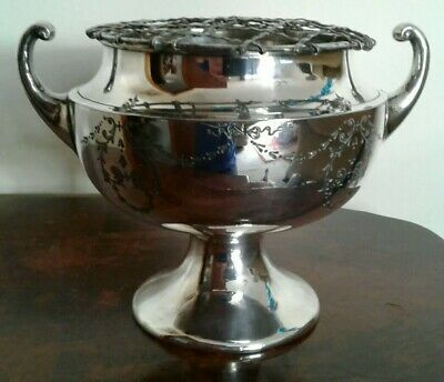 Antique Silver Plated Atkinson Brother Flower Rose Bowl With Handles