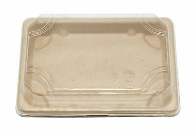 """6.5 * 5.5"""" Wheat Straw Take Out Sushi Container Disposable Serving Tray with Lid"""