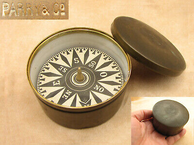Antique 19th century brass cased compass signed Parry & Co
