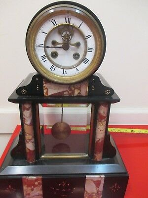 XL Heavy Marble French ART DECO 1920  Clock with open  escapment. run.