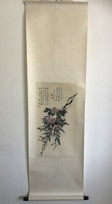 Original Vintage Chinese Oriental Water Colour Scroll Painting 02