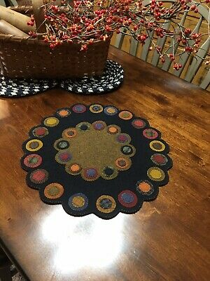 Antique Primitive Old Country Wool Applique Double Large Penny Rug Table Mat