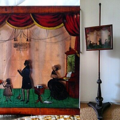 Antique early Victorian silhouette family portrait on pole screen banner c1845