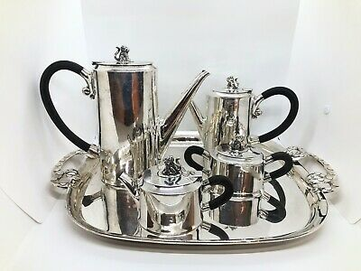 Spratling Jaguar Coffee Tea Set and Tray Taxco Mexican Sterling Silver 1940s