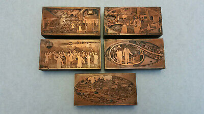 5 Copper Printing Blocks Various Designs Early 20th Century All 4 x 2 Inches