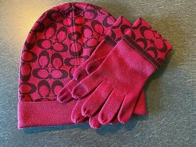 Coach Raspberry Sherry Knit Touch Wool Mittens and Beanie set