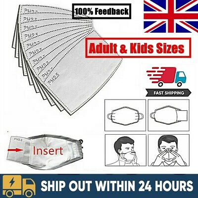 UK PM2.5 Face Mask Adult Kids Filter Activated Carbon Replacement Filter Insert