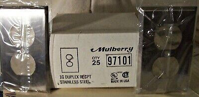 Mulberry Stainless Steel 1-gang Duplex Receptacle Wallplate Outlet Cover 97101