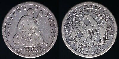 1853 Arrows & Rays Seated Liberty Quarter - Cleaned