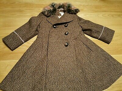 MONSOON Beautiful Girls Winter Coat Age 3-4 Years Brown *Excellent Condition*