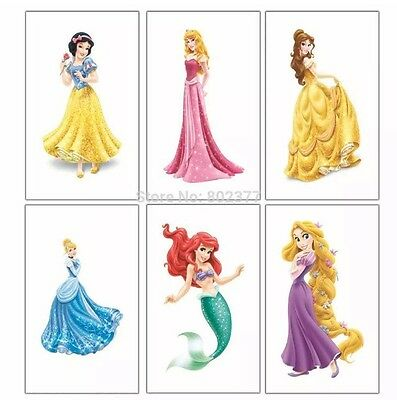 12 Childrens Disney Princess Temporary Tattoos Kids Party Bag Fillers Boys Girls