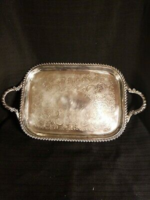 NIce CRESENT SILVER CO Silverplate SERVING TRAY 17 BY 9.5 INCHES