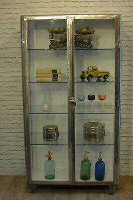 Stunning polished steel vintage medical cabinet  1960s