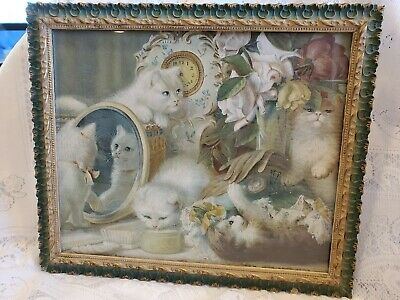 Vintage / Antique Kitty Kitten Picture Unique Frame